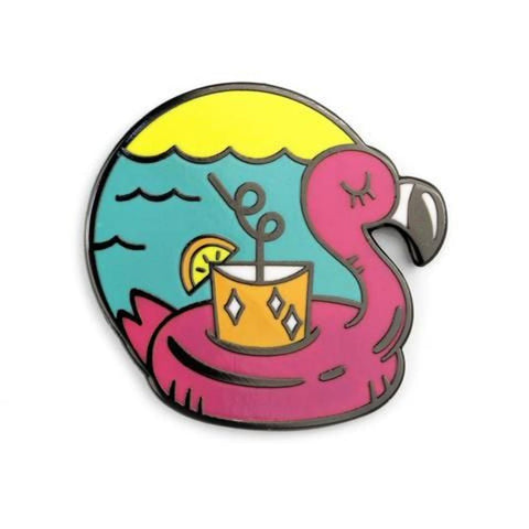 BadgeBomb Enamel Pin Cocktail Flamingo