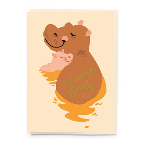 Midoco.ca: Noi Sweet Baby hippo Greeting Card