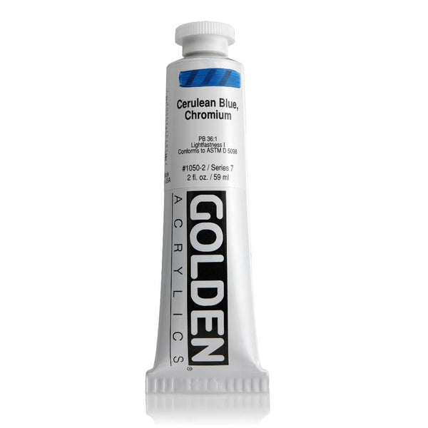 Golden Heavy Body Acrylic Paint 2oz Cerulean Blue Chromium