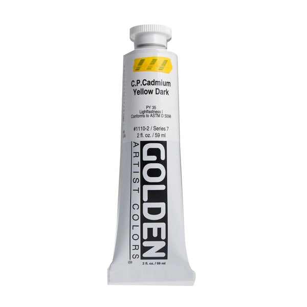 Golden Heavy Body Acrylic Paint 2oz CP Cadmium Yellow Dark