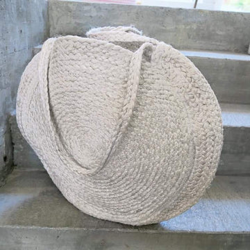 Sac -  grand Cabas rond coton naturel