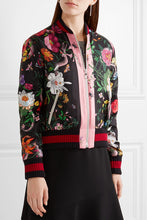 Printed silk-satin bomber jacket