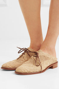 Jaly lace-up raffia slippers