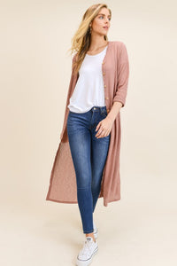 Hello Y'all Long Cardigan - Rose