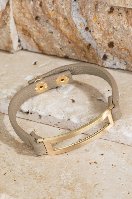 Modern Charm Leather Bracelet - Natural