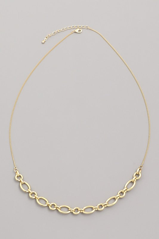 Gold Matte Chain Link Necklace