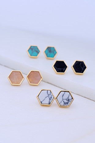 Gold Rimmed Hexagon Stud Earrings