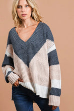 V Shaped Color Block Sweater