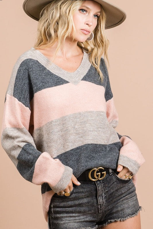 Blush Striped Sweater