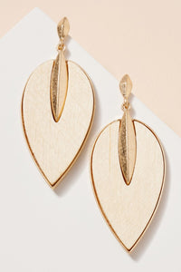 Wooden Leaf Dangle Earrings- Ivory