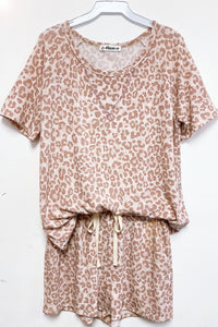 Leopard Print Lounge Short Set