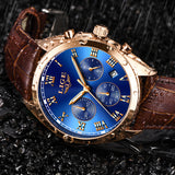 Men Leather Waterproof Sports Watches