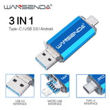 New usb 3.0 WANSENDA OTG USB Flash Drive Type C Pen Drive