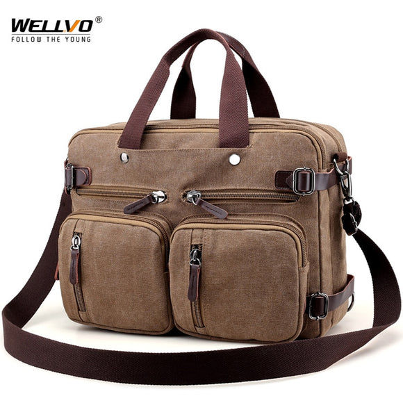 Men Canvas Briefcase Business Laptop Handbag