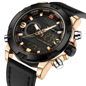 NAVIFORCE Luxury Brand Men Analog Digital Leather Sports Watches