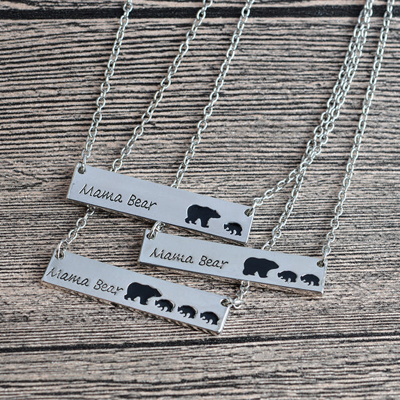 Mama Bear Tag Engraved Animal Pendant Necklace Gold Silver Mother Kids