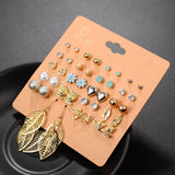 DANZE Punk 20 Pairs Pack Set Brincos Mixed Stud Earrings