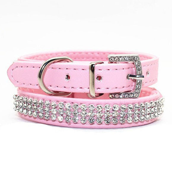 Bling Pet Dog Collar Led Pet Cats PU Leather Rhinestone