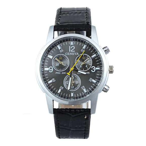 Men Fashion Business Style PU Leather Wristwatch
