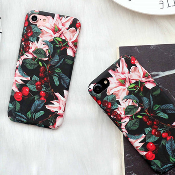 Retro Cherry Flower Floral Cherry Plastic Hard Phone Cases For iphone 7 6 6S Plus 5 5S