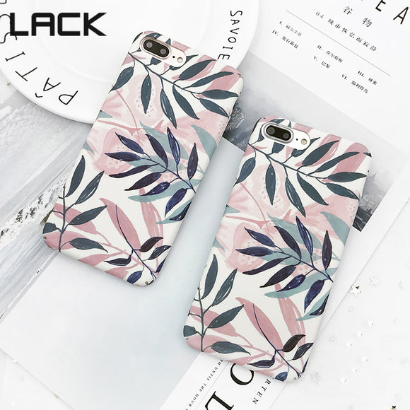 LACK Fashion Artistic Leaf Phone Case For iPhone