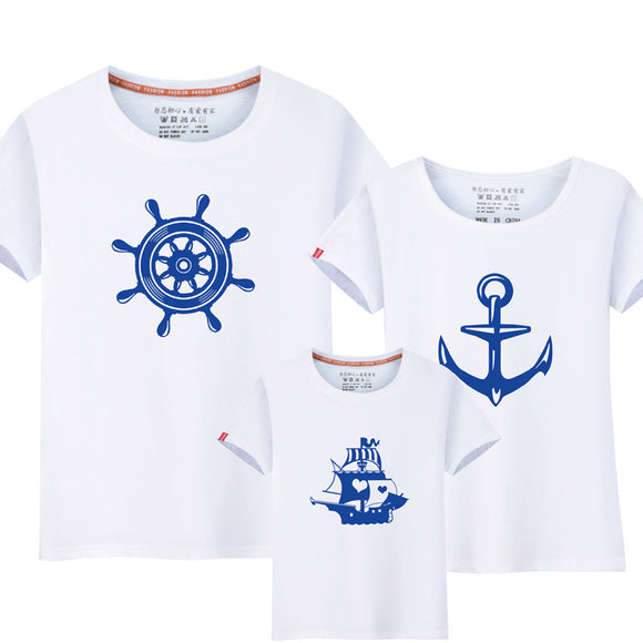 Summer Family Matching Clothes New Family Look Anchor T-Shirts