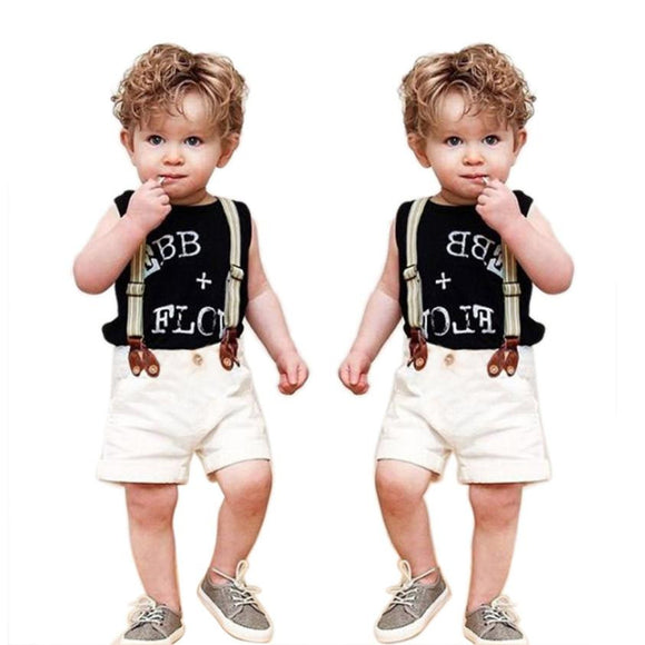 Summer Boys Clothes Children Baby Boy Clothing Set Gentleman Letter Print T-Shirt Tops