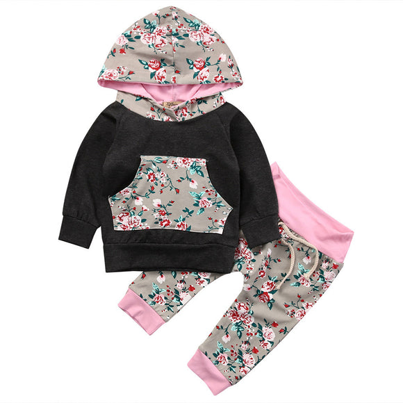 Newborn Baby Girl Boy Florals Tops Hoodies +Long Pants 2Pcs toddlers Outfits Children