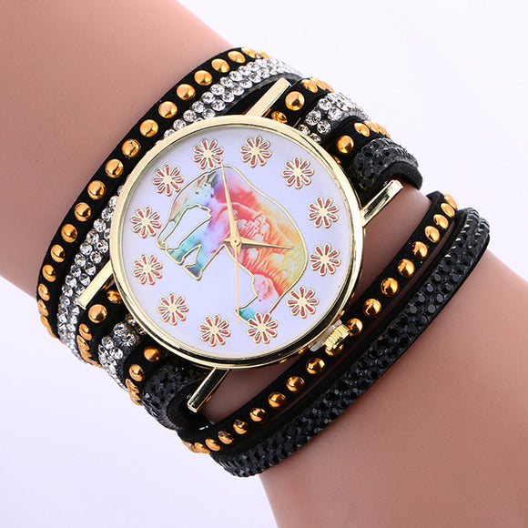 Fashion Elephant Pattern Chimes Leather Bracelet Lady Woman Wrist Watch