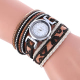 Wrap Around Fashion Weave Leather Bracelet Lady Woman's Wrist Watch