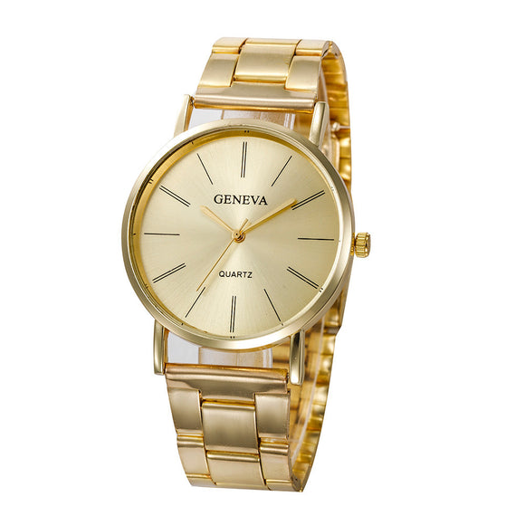 Fashion Women Men Simple Stainless Steel Analog Quartz Wrist Watch