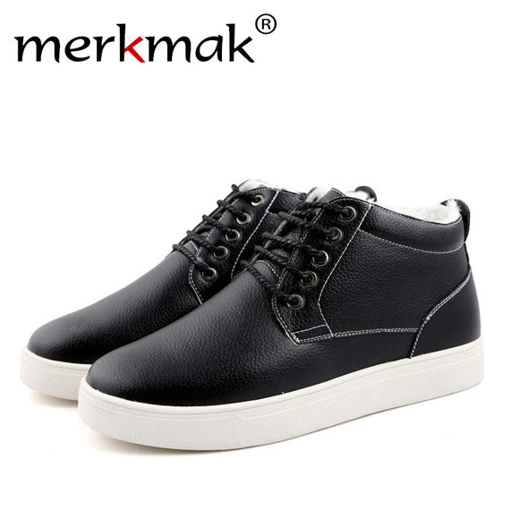 Merkmak High Quality Men Boots Leather Plush Fur Fashion