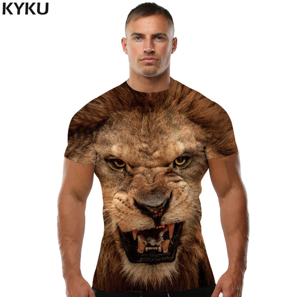 Casual Fitness Animal Lion 3d T-shirt