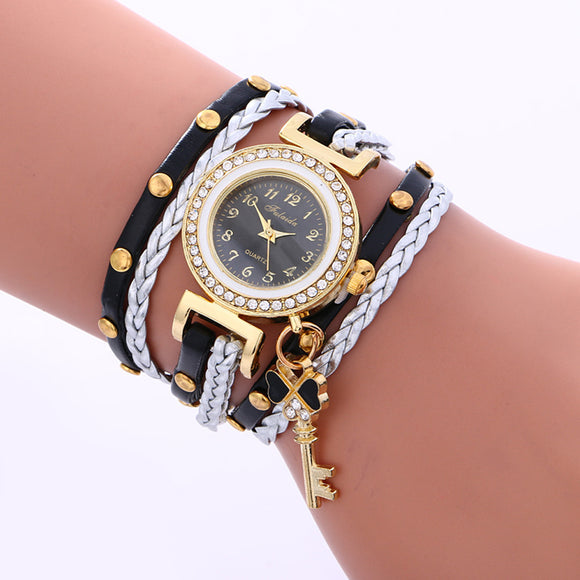 Fashion Leather Bracelet Weaving Lady Woman Wrist Watch