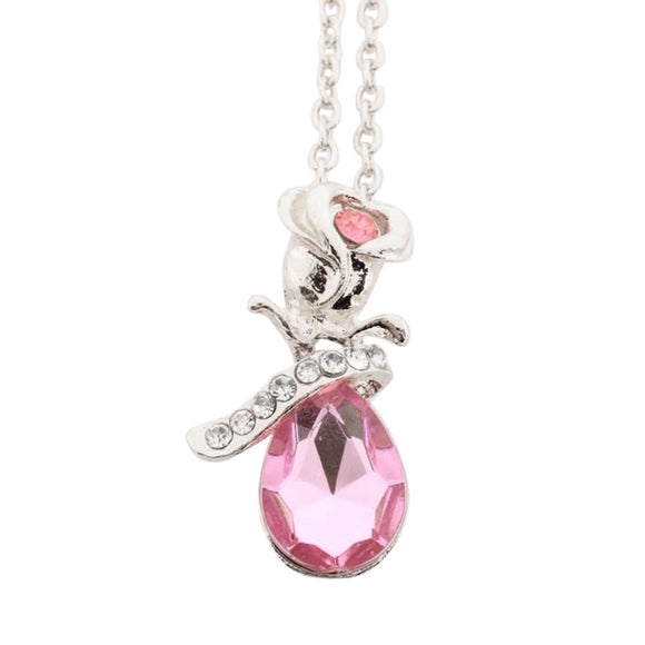Women Jewelry Crystal Rose Pendant Necklace