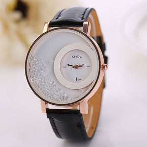 Woman Leather Quicksand Rhinestone Quartz Bracelet Wristwatch Watch
