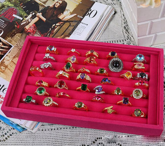 Jewelry Rings Display Tray Velvet About 50 Slot Case Box