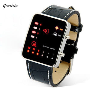 GENVIVIA Leather Band Digital LED Watch