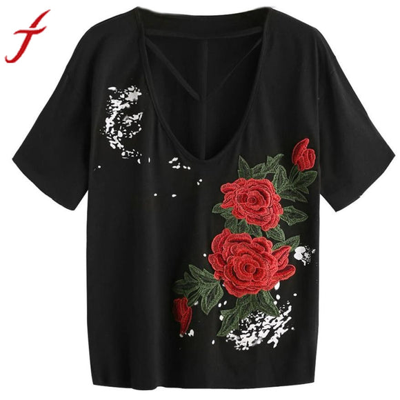Embroidered T-shirt Women Summer Applique Strappy Short sleeve