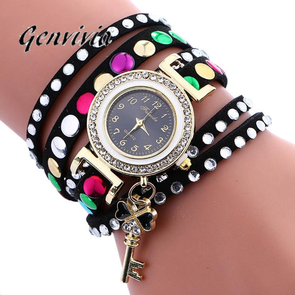 Genvivia Brand Woman wrist watch Stylish Key Pendant Leather Bracelet