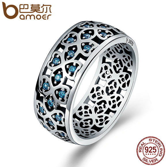 BAMOER 100% 925 Sterling Silver Petals of Love Sweet Clover Blue CZ Finger Rings