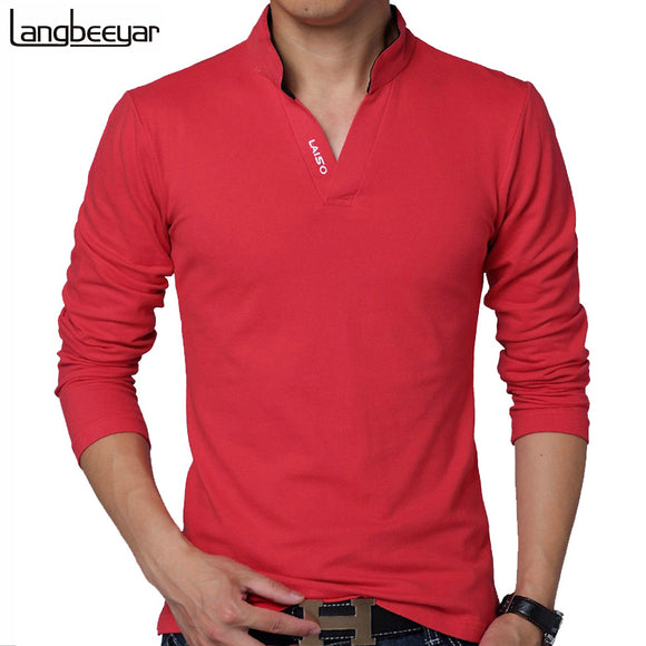Hot 2018 New Fashion Brand Men Clothes Solid Color Long Sleeve Slim Fit T-Shirt