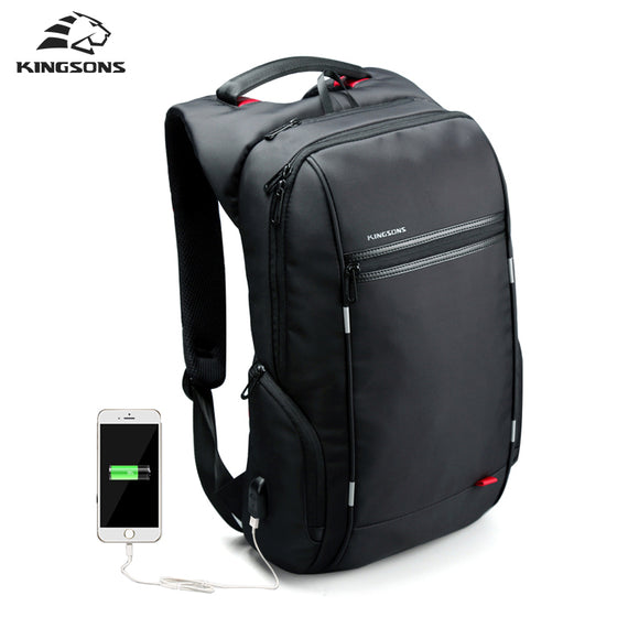 Kingsons Men Backpacks Laptop Backpack USB Charger Bag Anti-theft