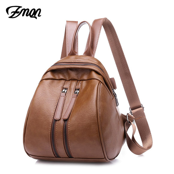 Casual Leather Backpack Zipper For Teenage Girl