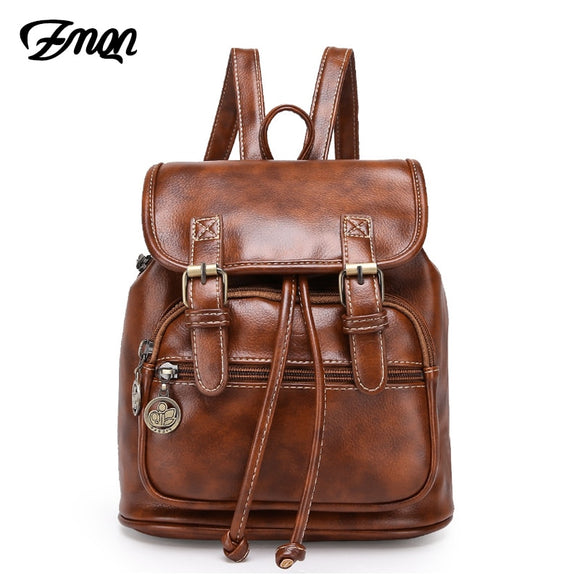 Women Zipper Leather Backpack