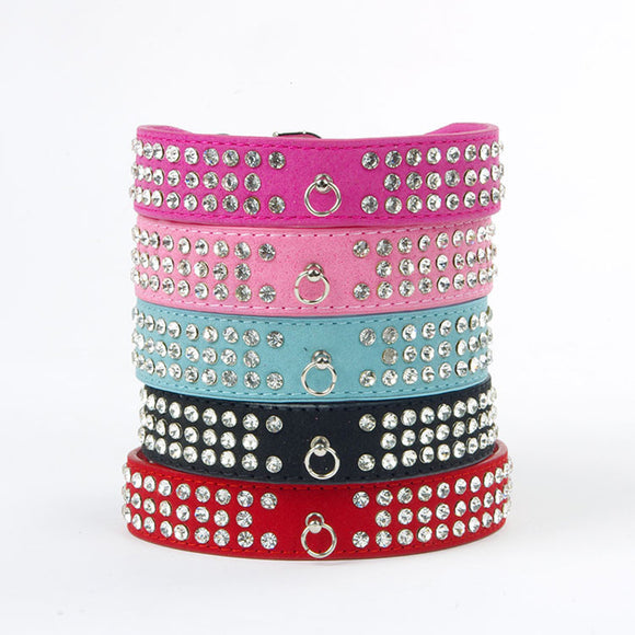 Bling Pet Dog Collars 3 Row Rhinestone Pet Puppy Cat Fashion Necklace