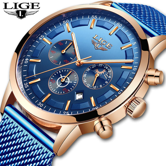 LIGE Blue Casual Mesh Belt Fashion Quartz Gold Watch