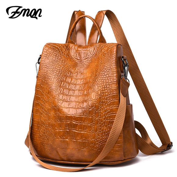 ZMQN Women Crocodile PU leather Backpack