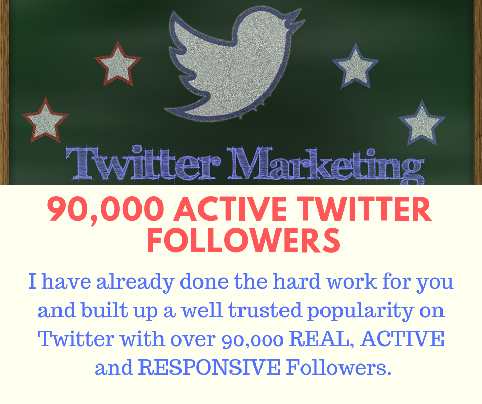 90,000 REAL and active Twitter followers