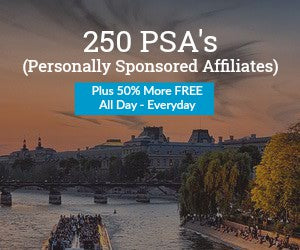 250 PSA's (Personally Sponsored Affiliates) Total 375 PSA's